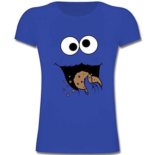Karneval & Fasching Kinder - Keks-Monster - 104 (3-4 Jahre) - Royalblau - F131K - Mädchen Kinder T-Shirt