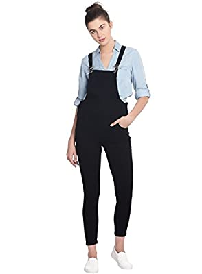 Broadstar Women Denim Black Dungarees