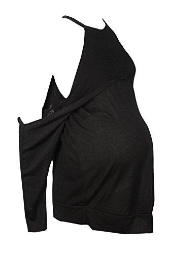 Noir Femmes Hollie Top De Grossesse À Volants Et Épaules Dénudées Noir