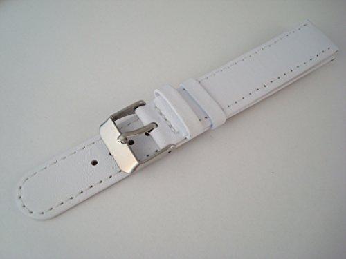 Cinturino/band, in pelle, colore blu, rosso o bianco 18mm Lug - Leather - White White