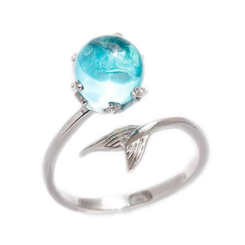 (AIUIN Sterling Silber Ring Meerjungfrau Schaum Silber Offener Ring Schmuck Zubehör für Freunde Liebhaber Geschenk Einstellbare Größe Mit Einer Schmucktasche)
