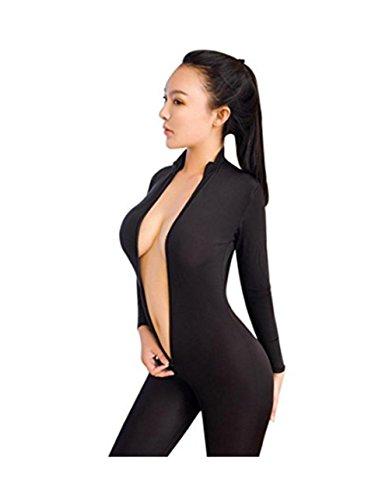 Schwarz sexy Die Versuchung Frauen Striped Sexy Bodysuit Reißverschluss Langarm Geöffneter Gabelung Dessous Overall Bodystocking Striped Lace Trim