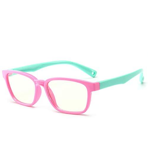 Happy Together Silikon-Kinderbrille Flachenspiegel Jungen und Mädchen Anti-Blaulicht UV-Strahlung Sicherheit komfortable Neue Brille (Farbe : B)