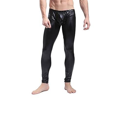 FEESHOW Men's Faux Leather Leggings Long Pants Thermal Underwear Trousers Black Large