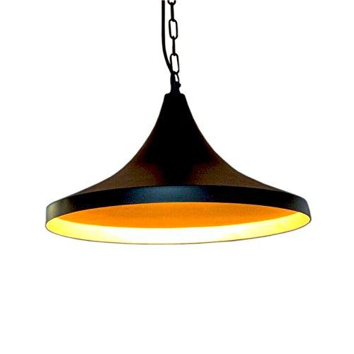 Emporio Arts Noir Lampe industrielle à suspendre en forme conique, fer, noir à l'intérieur or, E27, 40 Watts
