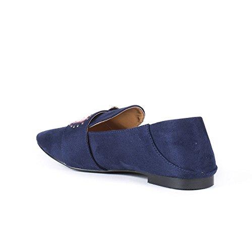 Ideal Shoes Slippers Effet Daim avec Strass et Clous Fadina Marine