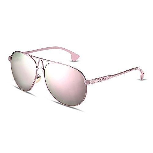 iLove EU Herren Sonnenbrille Vintage Metallrahmen Aviator Frosch Spiegel Brille Sonnenbrillen mit Kreuz Blumen am Bügel Pink Gläser