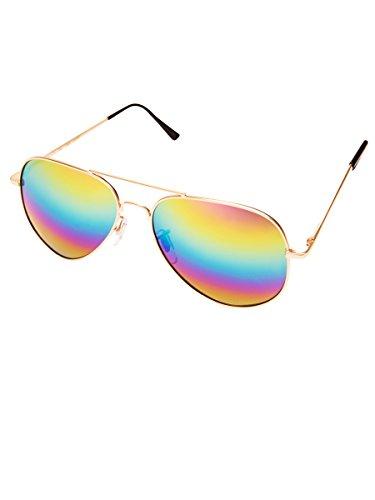 Hochwertige Pilotenbrille Sonnenbrille 70er Jahre Herren & Damen Sunglasses Fliegerbrille verspiegelt (Gold/Matt - Rainbow)