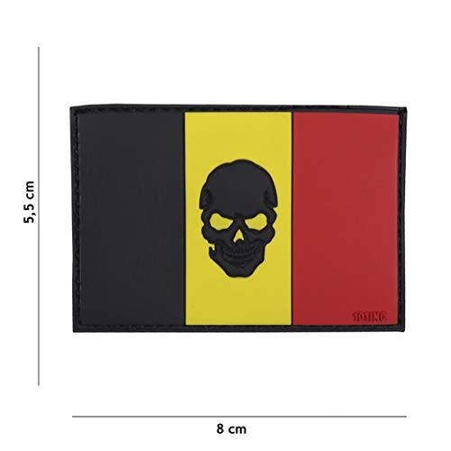 Tactical Attack Flagge Belgien + Skull #16049 Softair Sniper PVC Patch Logo Klett inkl gegenseite zum aufnähen Paintball Airsoft Abzeichen Fun Outdoor Freizeit
