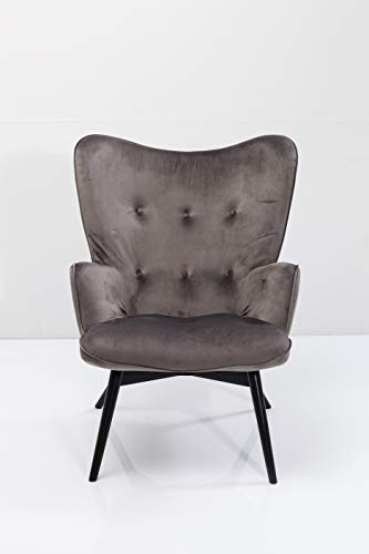 Kare Design Sessel Black Vicky Velvet, samtiger Loungesessel, TV-Sessel mit dunklem Holzgestell,...