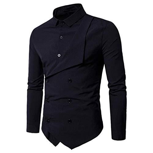 Binggong Herren Shirt,Herren Hemd Lässig Einfarbig Mode Langarm Grundlegende Revers Hals Baumwolle T-Shirt Top Zweireiher