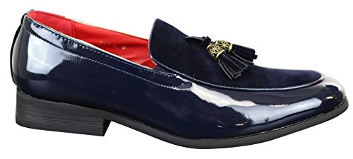 Mocassini eleganti o casual uomo lucidi in ecopelle blu navy 10uk / 44eu