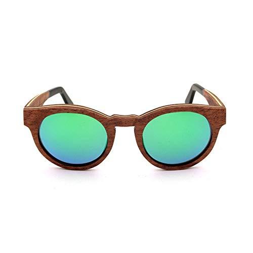 Honneury Hochwertige Vintage holzrahmen Sonnenbrille, polarisator objektiv (Farbe : Grün)