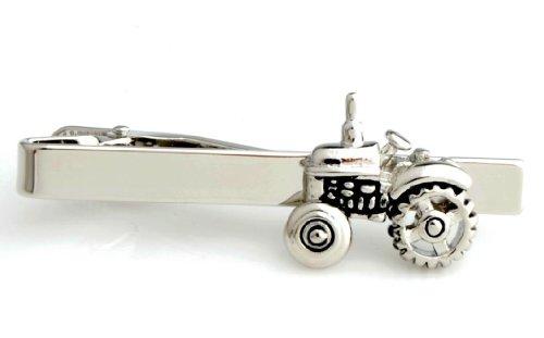 Landwirt Traktor Krawatten-Klammer, Silber / Schwarz, für Hochzeit