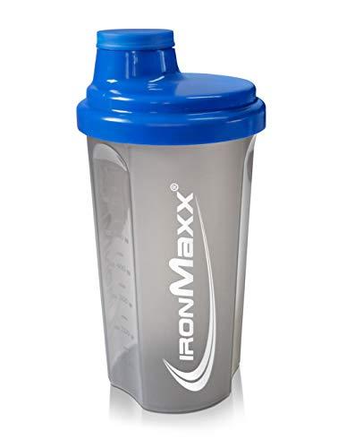 IronMaxx Eiweiß Shaker mit Drehverschluss, Sieb und Mess-Skala - 700ml Fitness Shaker für klumpenfreie Shakes - Leicht zu reinigen - Protein Shaker in Blau/Grau