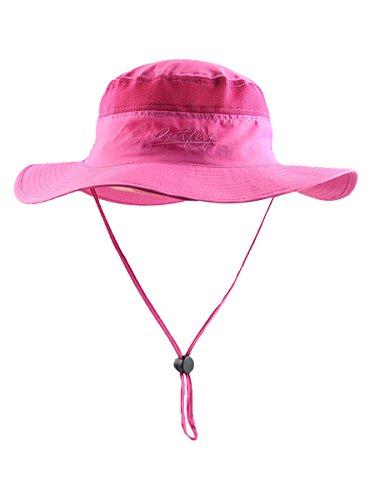Outfly Damen Outdoor Bucket Hut Fischer Hut Buschhut Atmungsaktiv Schnelltrocknend Sonnenschutz - für Kopfumfang 55-60 cm Rosa