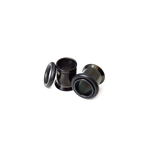 Ear Plugs Pair of 8 Gauge 316l Surgical Steel Black I.p. Ear Tunnels with O Ring - Sold in Pairs Ep007 by EG GIFTS