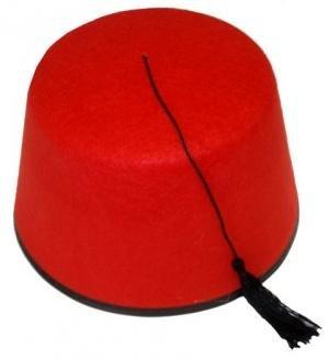 Crazy Chick Unisex-Erwachsene Fez Party Kostüm Zubehör Red Hat mit Schwarz Quaste (Fez Fancy Dress Kostüm)