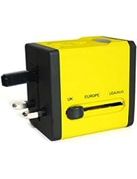 Adaptateur de Voyage avec 2 ports USB de la série Arc en Ciel (5V/2.1A) - Édition Jaune