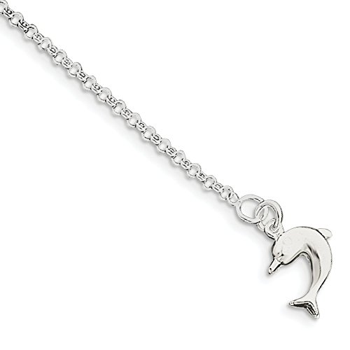 IceCarats Designer Jewellery Sterling Silver Dolphin Anklet In 9.00 Inch