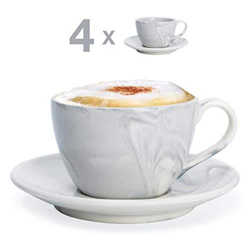 Hausmann & Söhne Cappuccino Tassen dickwandig   Set 8-TLG.   4er Set Pastell graue Marmor Tassen mit Untertasse   Porzellan   Tasse 170 ml (210 ml randvoll)   Tassen mit Untersetzer   Geschenkidee Cappuccino-tasse