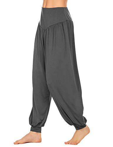 Lucyme Damen Haremshose Lange Yogahosen Elastisch Pilates Hose Pluderhose Pumphose Jogginghose Casual Sporthose, Grau, M