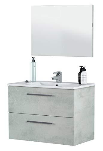 Miroytengo Mueble baño y Espejo Plutón 2 cajones diseño Moderno Cemento 80x45x57...