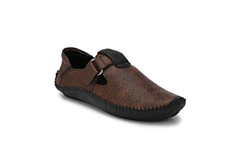 Big Fox Roman Sandals for Men, Blue/Brown, Synthetic Leather, Hook & Loop Closure Casual Footwear. (10, Dark Brown)