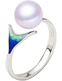 Shysnow Anillo de Sirena de Plata de Ley 925 con Perla de Agua Dulce Natural Blanca, Anillo de Dedo de Apertura
