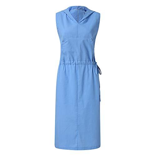 AIni Femmes Robe Jupe, Jupe De Costume Une PièCe à Capuche en Coton Et Lin-Casual Chic Vintage(S,Bleu)