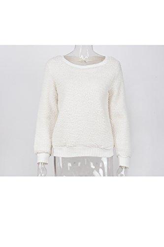 YACUN Femmes Des Manches Longues Maxi Pull Redingote Un Tee Shirt white