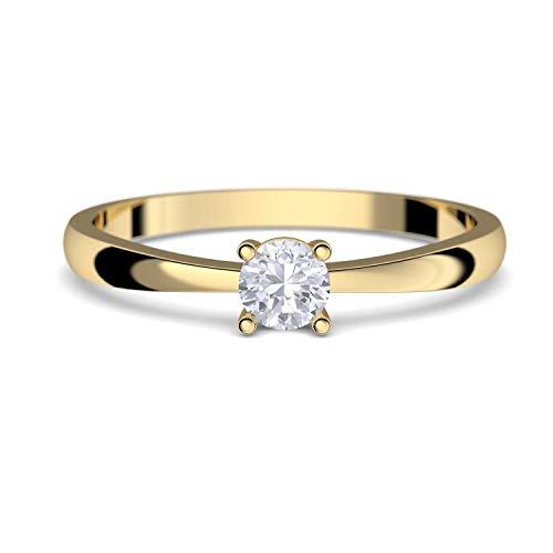 Verlobungsringe Gold 333 *** GRATIS LUXUSETUI *** Goldring 333er Gold Ring echt von AMOONIC mit Zirkonia Stein Goldring Gelbgold wie Verlobungsring Diamant Ring Gold Solitär FF385GG333ZIFA54