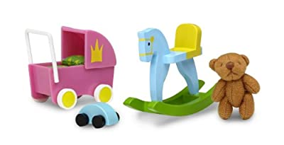 Kit de juguetes (cochecito, oso de peluche, cochecito y caballo balancín) para casa de muñecas - Lundby 60.5078.00 Småland
