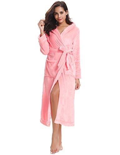 Aibrou Pyjama Femme Polaire Chapeau Robe Peignoir Pas Cher personnalisé Robe Chambre Homme Longue Hiver Étoile - Rose- Chapeau Style - Taille EU 44-46 (Fabricant : L)