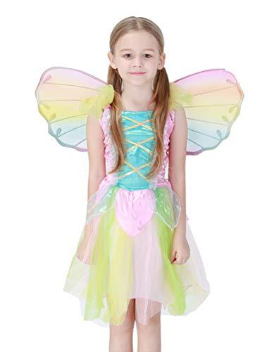 ARAUS Baby Kostüm Mädchen Kleid Angel Flügel + Anzug 2 Sets Halloween Weihnachten 3-8 Jahre alt (Halloween-kostüm Jahr Für Ein Alt)