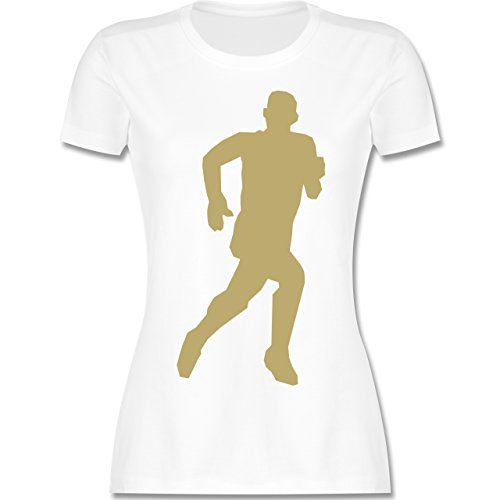 Laufsport - Laufen - tailliertes Premium T-Shirt mit Rundhalsausschnitt für Damen Weiß