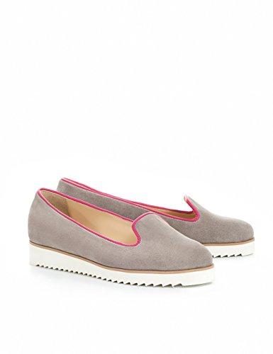 ShoeVita Wildleder handgefertigte Loafer Damen EVA Gummi Sohle Eckig Weiß Grau & Pink Größe 33 - 45 Grau