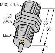 Turck Sensor,ind, M30x1,m.Kabel Bi10-M30-AP6X DC,pnp,no,sn=10mm,b Induktiver Näherungsschalter 4047101141771