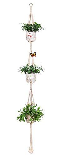 Walmics Makramee-Pflanzenaufhänger, 3-stöckig, zum Aufhängen, aus Baumwollseil, für Innen- und...