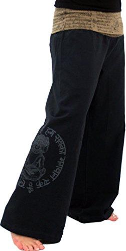 GURU-SHOP, Pantalones Buda Goa Pantalones de Yoga Pantalones de Bienestar Pantalones Hippie - Negro, Algodón, Tamaño:XL (42), Pantalones Largos