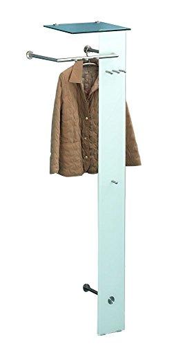 "Garderobe ""Kaju"", Sicherheitsglas, Hutablage, Edelstahloptik, 55 x 190 x 38 cm, Wandgarderobe, Flurgarderobe"