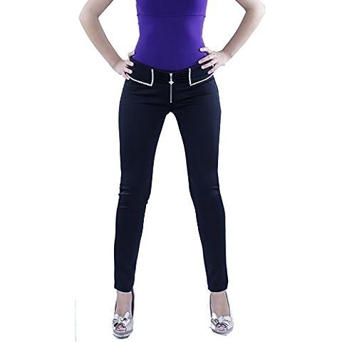 Pantalón Negro Mujer Elastizado Strass con detalles de brillantes