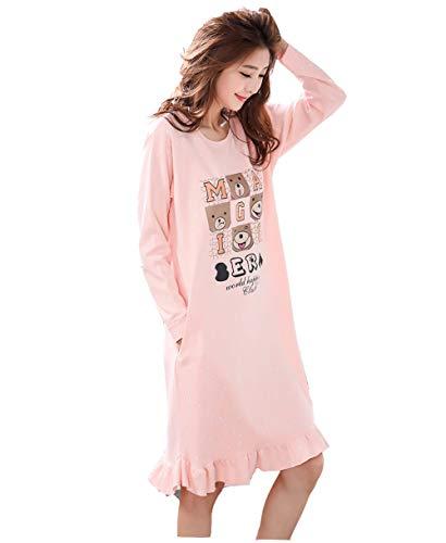 DSJJ Chemise de Nuit Femme Coton Manches Longues Pyjama Grande Taille Nuisette Chic Rob
