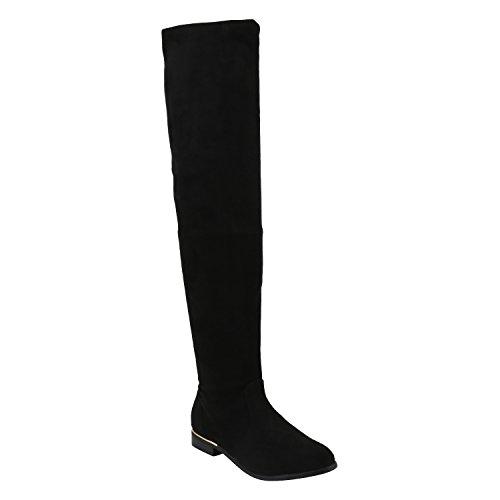 Basic Damen Overknees Schleifen Stiefel Samt Flach Langschaftstiefel Overknee Boots Blockabsatz Schuhe 144221 Schwarz Gold 38 Flandell