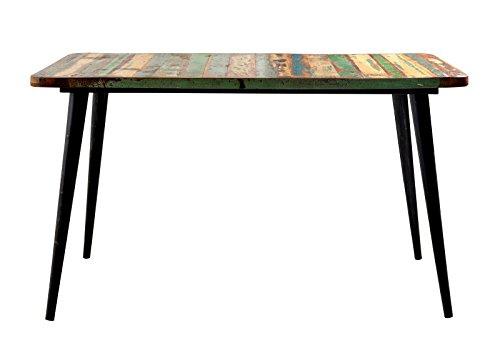 4-98 Tisch aus Massivholz, recyceltes Altholz, bunt lackiert, 140 x 70 x 76 cm (Altholz Tisch)