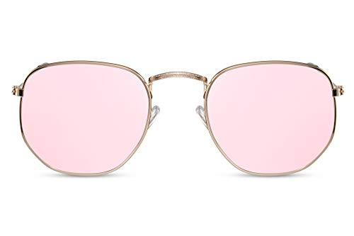 Cheapass Sonnenbrille Verspiegelt Hexagonal Gold Pink UV-400 Designer-Brille Metall Damen Frauen