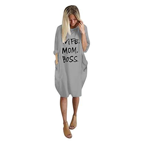 WUDUBE Automne Robe Longue Femmes Manche Longue Chic Robe Ample Lettre imprimée Robe t-Shirt Décontractée Col Rond Grande Taille Robe mi-Longue
