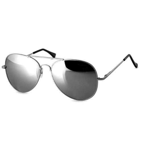 Caspar SG004 Unisex Police Sonnenbrille, Farbe:silber/silber verspiegelt