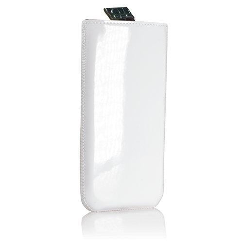 GlüxKind Darwin Echtledertasche Handytasche für iPhone 6 / iPhone 6S, Handyhülle aus Echtleder Krokodilleder - Case Slip-In Sleeve Tasche Lederhülle Etui, Hülle Echt Ledertasche echt Leder Hülle Case  Weiß Grün