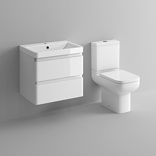 White Gloss Wall Hung Vanity Sink Unit Bathroom Furniture Short Projection